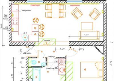 Un appartement vieillot devient une location meublée à Issy-Les Moulineaux - Buro2déco -Aménagement et décoration Plan état projeté-017