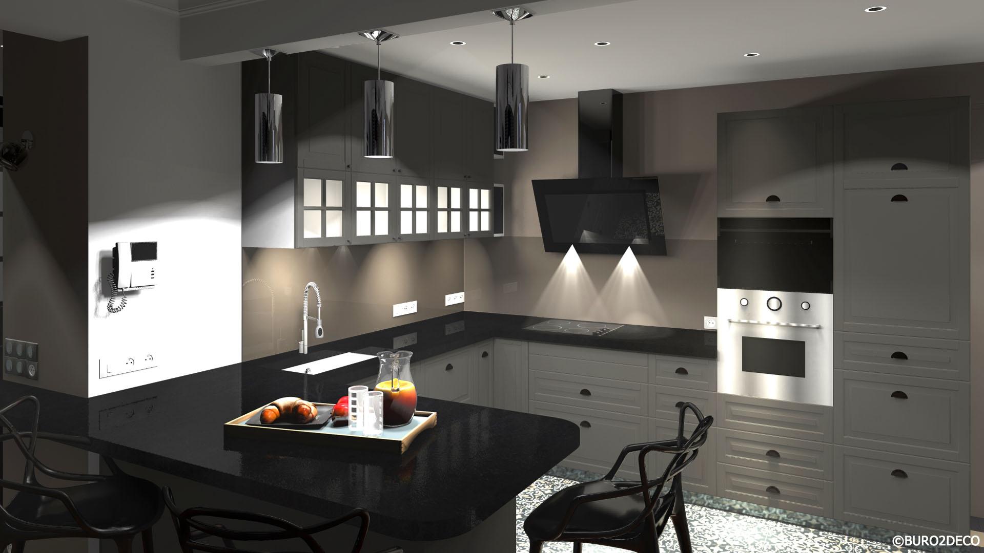 02 Image 3D- Cuisine noir et gris, carreaux de ciment crédence en verre laquée, Aménagement et décoration d'une cuisine ouverte dinatoire, meubles gris et plan de travail en granit patiné effet cuir à Paris - Buro2déco