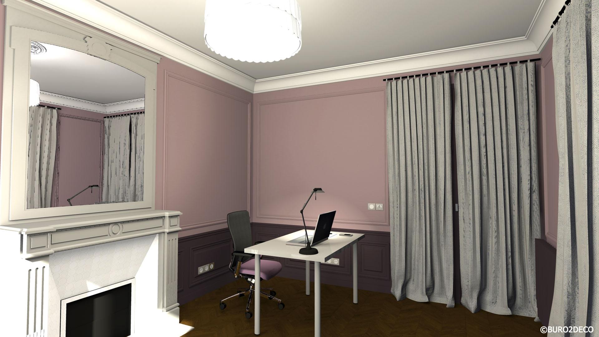 Cabinet Ostéopathie 2 Avant projet 3D Restructuration aménagement et décoration d'un appartement mixte à Paris 14ème -Buro2Déco