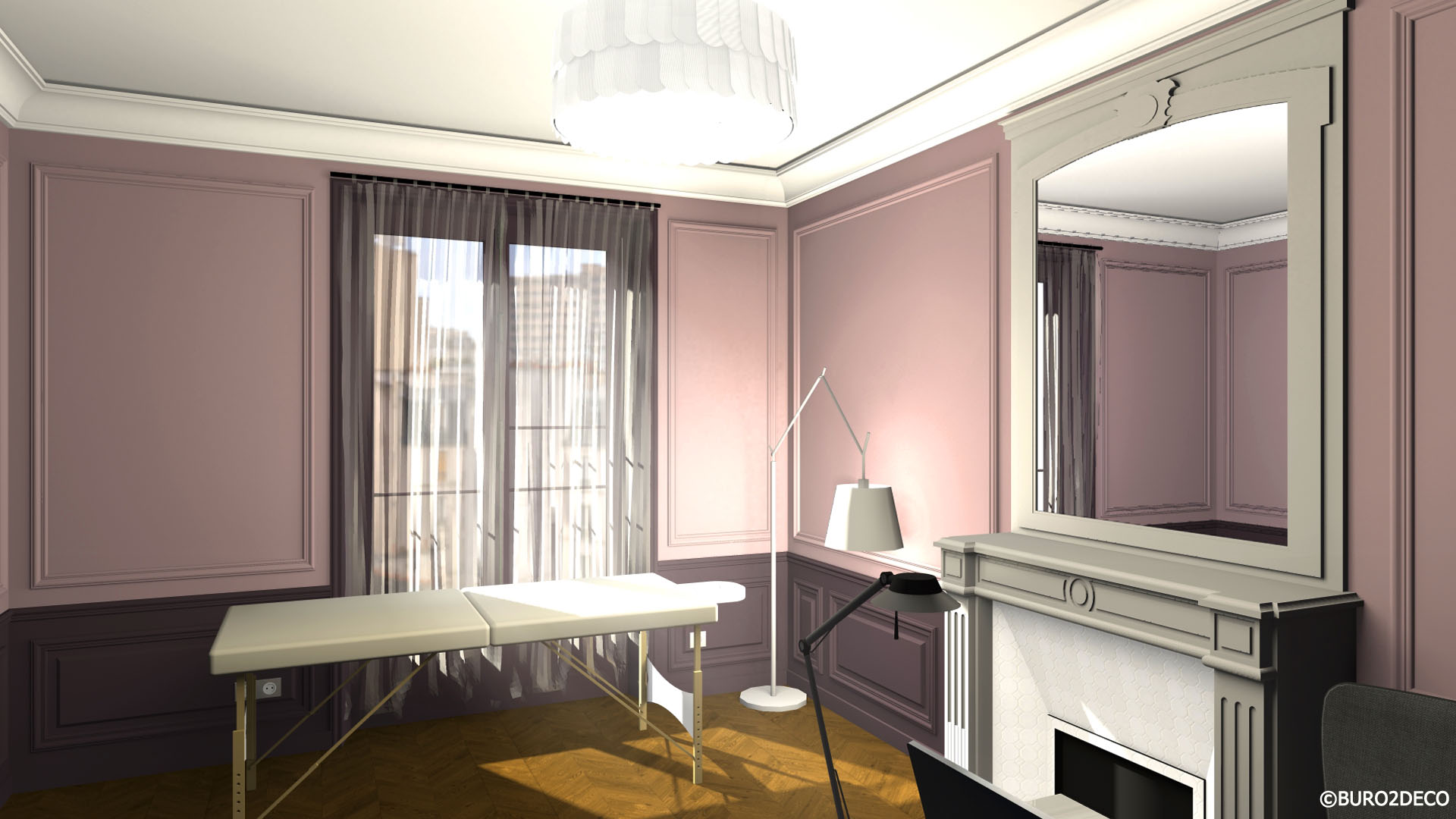 Cabinet Ostéopathie 1 Avant projet 3D Restructuration aménagement et décoration d'un appartement mixte à Paris 14ème -Buro2Déco