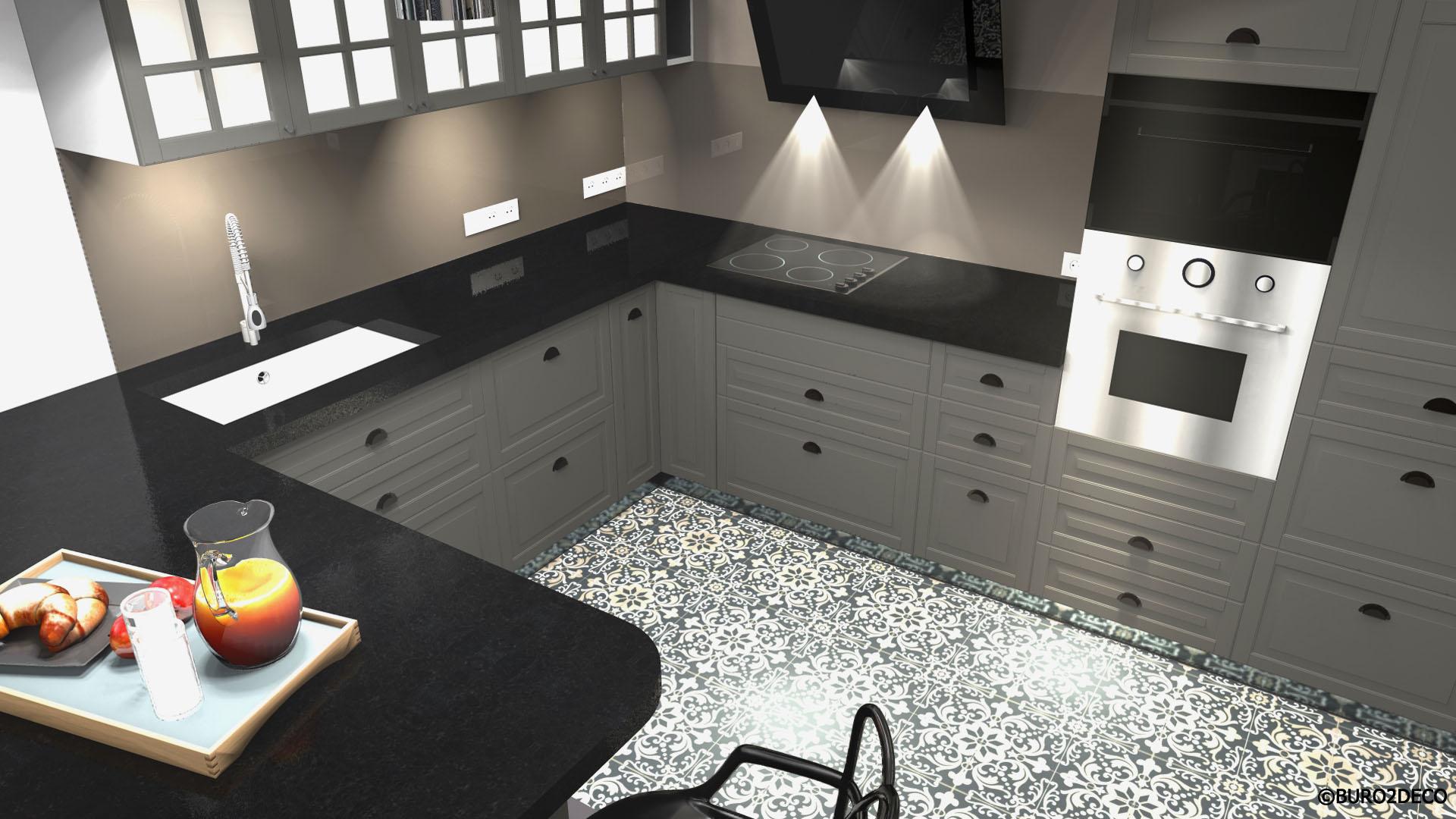 03 Image 3D Cuisine noir et gris, carreaux de ciment, crédence en verre laquée, Aménagement et décoration d'une cuisine ouverte dinatoire, meubles gris et plan de travail en granit patiné effet cuir à Paris - Buro2déco