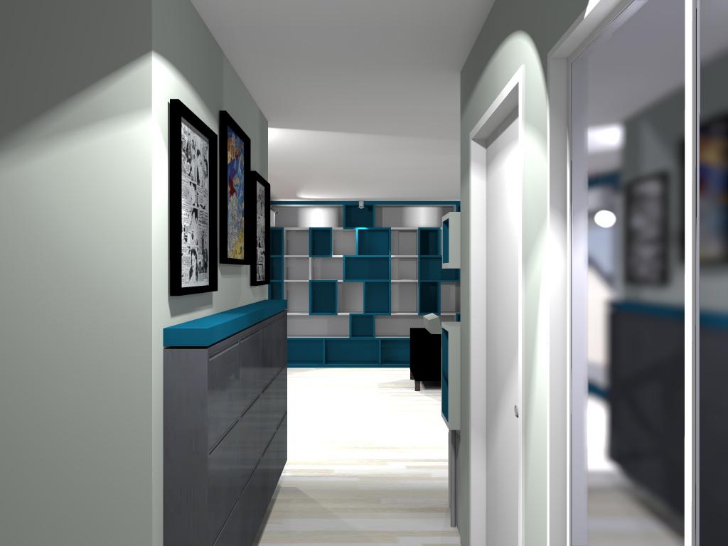 Buro2deco_ Aménagement et déco d'un appartement en duplex-entrée Asnières sur seine-Avant projet 3D entrée