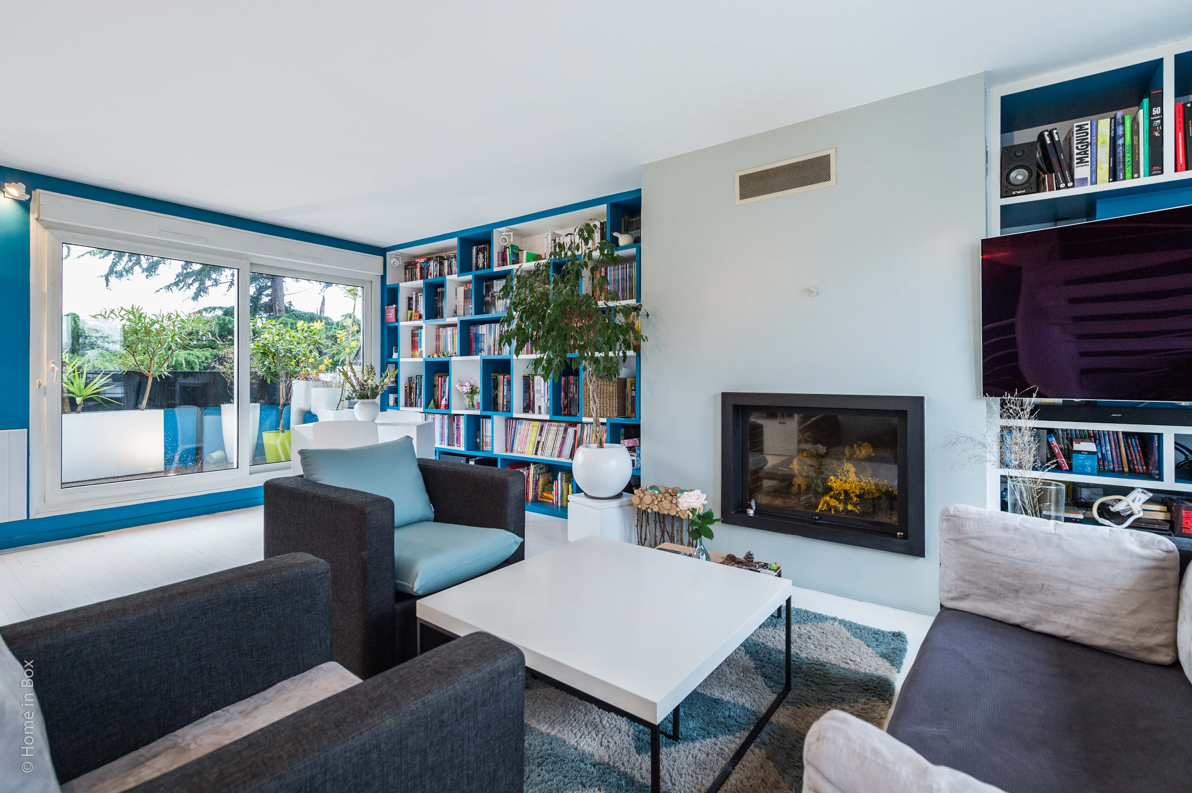 BBuro2Déco -Un appartement en duplex aux couleurs Comics Arty : Aménagement et déco, salon, à Asnières-sur-Seine